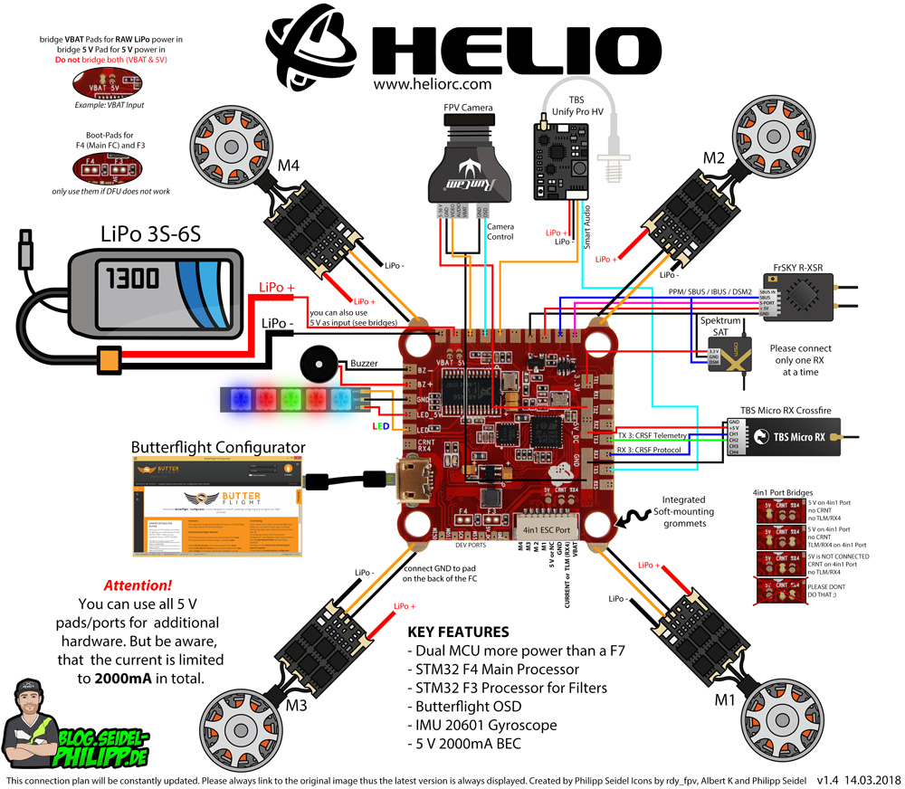 Helio Spring Imu F V2 Flight Controller 32khz Osd Butterflight Wiring Continuous Circuit Includes