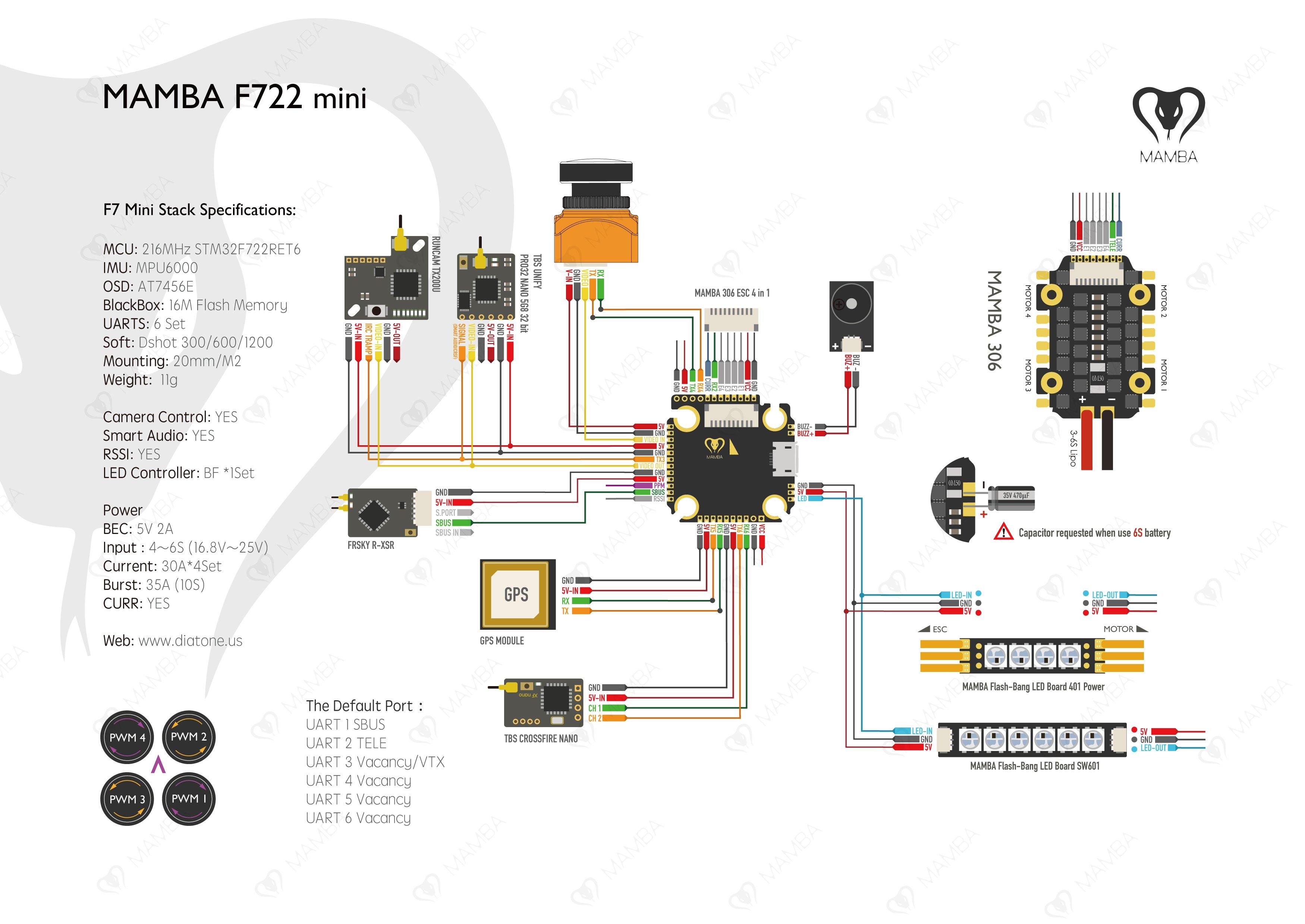 Diatone Mamba F722S Flight Controller & 30A ESC - 2pc Mini Stack