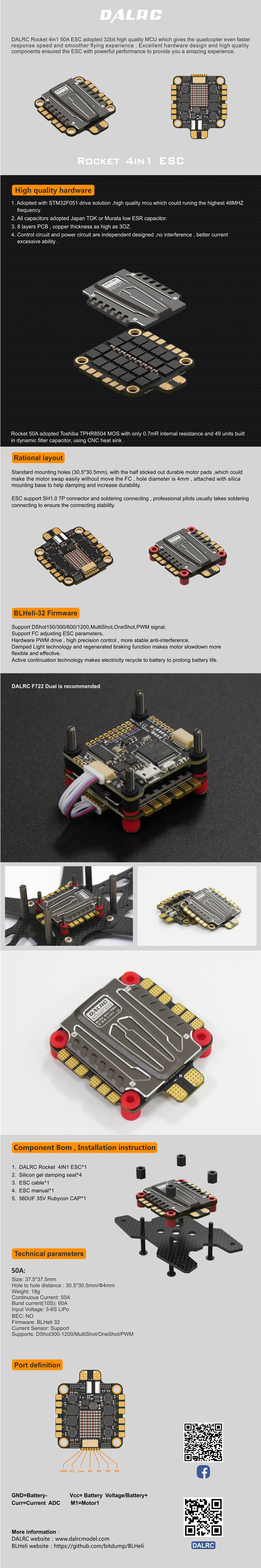 Dalrc Rocket 50a 3 6s Blheli 32 4 In 1 Esc Wiring Proximity Sensors Series Electrical Engineering Stack Includes